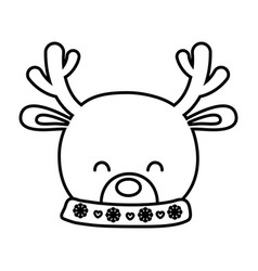reindeer head horns decoration merry christmas vector image