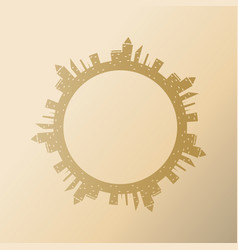round frame with city buildings of abstract city vector image