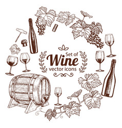 Round frame with sketch wine icons vector