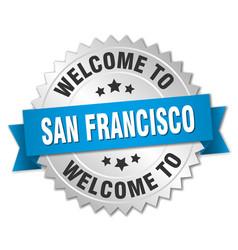 san francisco 3d silver badge with blue ribbon vector image