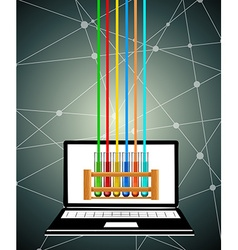 Science test tubes on computer screen vector image