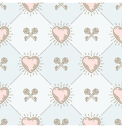 Seamless background with hearts and keys vector
