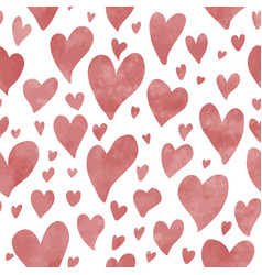 seamless hand drawn hearts pattern in red vector image
