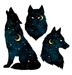 Set of wolf silhouettes with gold crescent moon vector