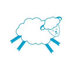Silhouette cute sheep animal with wool design vector