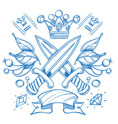 sketch of tattoo with a crowns and crown outline vector image