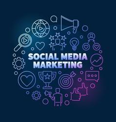 Social media marketing round colorful vector