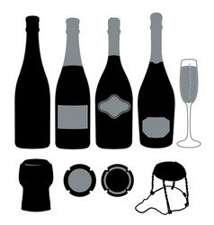 Sparkling wine silhouettes vector