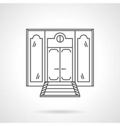 Store front door flat line icon vector