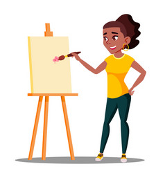 student art college drawing on the easel vector image