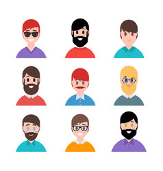 stylized beautiful young boys and men avatars in vector image