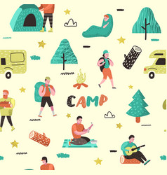 summer camping seamless pattern people in camp vector image
