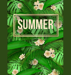 Summer tropical leaf pattern background with text vector