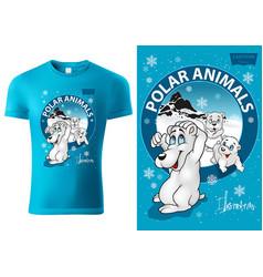T-shirt design with cartoon polar bear vector