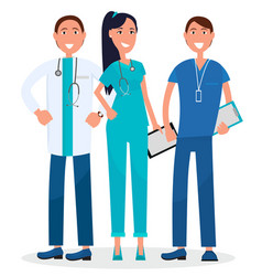 Three physicians standing and smiling graphic vector