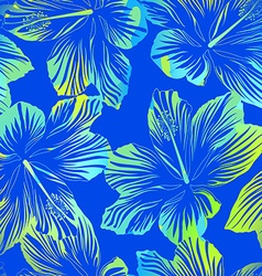 tropical flowers blue seamless pattern vector image