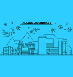 United states anchorage winter holidays skyline vector
