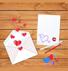 valentines card with cute opened envelope with vector image