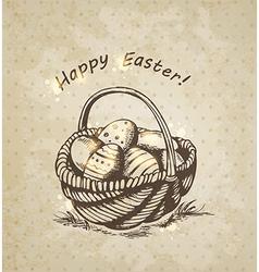 Vintage background with Easter basket vector