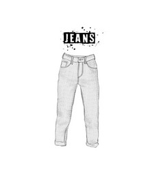vintage womens jeans in front views isolated on vector image