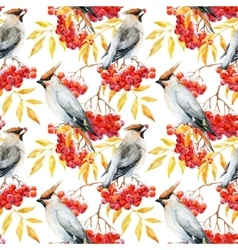 Watercolor waxwing and rowan pattern vector