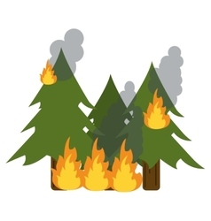 Wildfire destroys pines smock vector