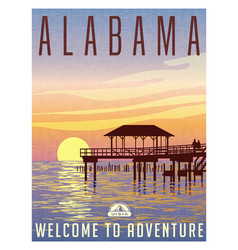 alabama travel poster vector image vector image