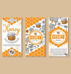 bee natural honey hand drawn flyer set vector image