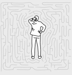 businessman standing in labyrinth vector image