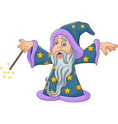 Cartoon wizard is waving his magic wand isolated vector image