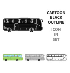 green tour bus icon in cartoon style isolated on vector image
