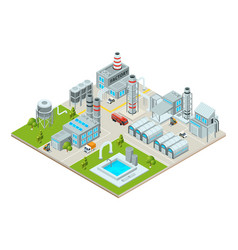 outdoor landscape with factory buildings vector image