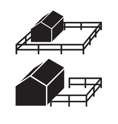 simple icon of house silhouette with fence vector image vector image