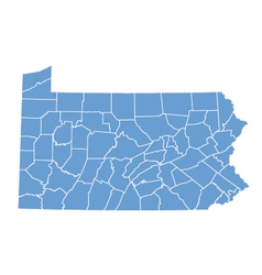 State map of Pennsylvania by counties vector image
