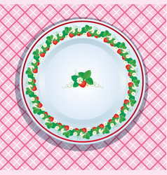 White plate decoration with strawberries leaves vector
