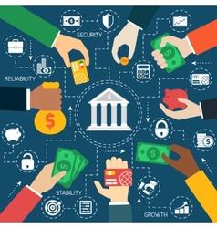 Business hands financial flowchart vector image