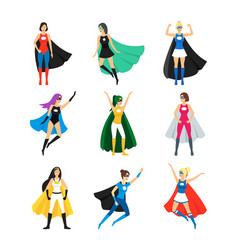 cartoon female superhero characters icon set vector image vector image