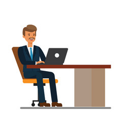 manager working at laptop cartoon flat vector image
