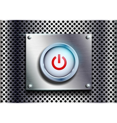 power button on a metal background vector image