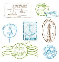 Set of Retro SEA stamps vector image vector image