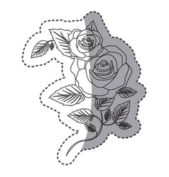 silhouette roses with squere petals and leaves vector image