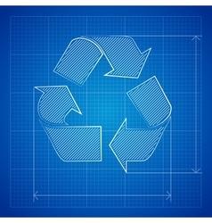 Blueprint Recycle Symbol vector image