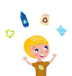 cute recycling boy vector image vector image