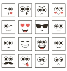 set of square smiley faces vector image