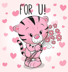 valentine card cute cartoon tiger with flowers vector image vector image