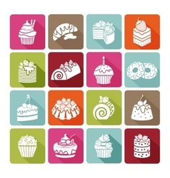 Flat dessert icons of cakes for bakeries and vector image
