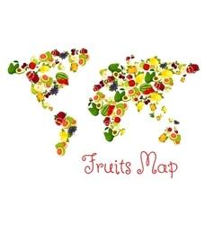 Fruits world map design element vector image