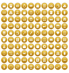 100 deposit icons set gold vector