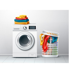 3d washing machine and laundry basket vector image