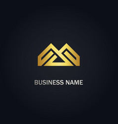 Abstract m initial geometry company gold logo vector